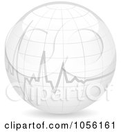 Royalty Free Vector Clip Art Illustration Of A Heart Beat On A 3d Globe by Andrei Marincas #COLLC1056161-0167