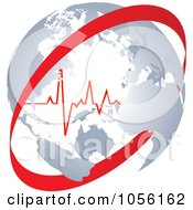 Royalty Free Vector Clip Art Illustration Of A Heart Beat Inside A Globe With A Red Circle