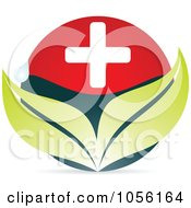 Royalty Free Vector Clip Art Illustration Of A Medical Cross With Leaves And A Water Drop by Andrei Marincas