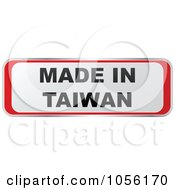 Royalty Free Vector Clip Art Illustration Of A Red And White MADE IN TAIWAN Sticker