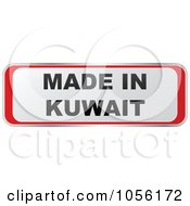 Royalty Free Vector Clip Art Illustration Of A Red And White MADE IN KUWAIT Sticker