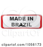 Royalty Free Vector Clip Art Illustration Of A Red And White MADE IN BRAZIL Sticker