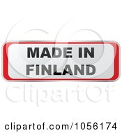 Royalty Free Vector Clip Art Illustration Of A Red And White MADE IN FINLAND Sticker