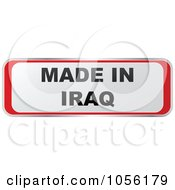 Royalty Free Vector Clip Art Illustration Of A Red And White MADE IN IRAQ Sticker