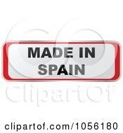 Royalty Free Vector Clip Art Illustration Of A Red And White MADE IN SPAIN Sticker