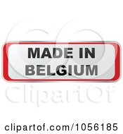 Royalty Free Vector Clip Art Illustration Of A Red And White MADE IN BELGIUM Sticker