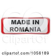 Royalty Free Vector Clip Art Illustration Of A Red And White MADE IN ROMANIA Sticker