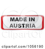Royalty Free Vector Clip Art Illustration Of A Red And White MADE IN AUSTRIA Sticker