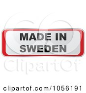 Royalty Free Vector Clip Art Illustration Of A Red And White MADE IN SWEDEN Sticker