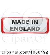 Royalty Free Vector Clip Art Illustration Of A Red And White MADE IN ENGLAND Sticker