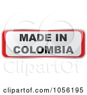 Royalty Free Vector Clip Art Illustration Of A Red And White MADE IN COLOMBIA Sticker by Andrei Marincas