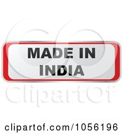 Royalty Free Vector Clip Art Illustration Of A Red And White MADE IN INDIA Sticker