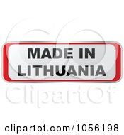 Royalty Free Vector Clip Art Illustration Of A Red And White MADE IN LITHUANIA Sticker
