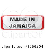 Royalty Free Vector Clip Art Illustration Of A Red And White MADE IN JAMAICA Sticker