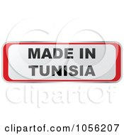 Royalty Free Vector Clip Art Illustration Of A Red And White MADE IN TUNISIA Sticker