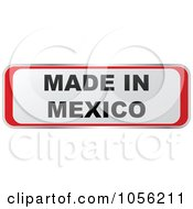 Royalty Free Vector Clip Art Illustration Of A Red And White MADE IN MEXICO Sticker