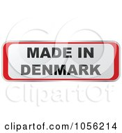 Royalty Free Vector Clip Art Illustration Of A Red And White MADE IN DENMARK Sticker