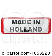 Royalty Free Vector Clip Art Illustration Of A Red And White MADE IN HOLLAND Sticker