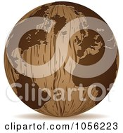 Royalty Free Vector Clip Art Illustration Of A 3d Wooden Globe Sphere Icon by Andrei Marincas