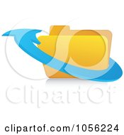 Royalty Free Vector Clip Art Illustration Of A 3d Blue Arrow Around A Folder by Andrei Marincas