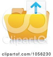 Royalty Free Vector Clip Art Illustration Of A Yellow 3d Upload Folder And Reflection by Andrei Marincas