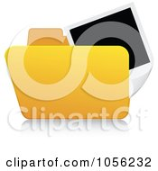 Royalty Free Vector Clip Art Illustration Of A Yellow 3d Pictures Folder And Reflection by Andrei Marincas