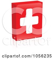 Royalty Free Vector Clip Art Illustration Of A Red Medical Cross Box With A Reflection