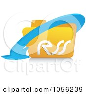 Royalty Free Vector Clip Art Illustration Of A 3d Arrow Around A Yellow Rss Folder 1 by Andrei Marincas