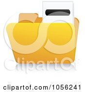 Royalty Free Vector Clip Art Illustration Of A Yellow 3d Minus Folder And Reflection by Andrei Marincas