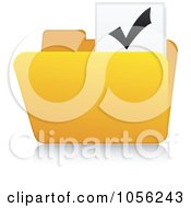 Royalty Free Vector Clip Art Illustration Of A Yellow 3d Check Mark Folder And Reflection by Andrei Marincas