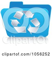Royalty Free Vector Clip Art Illustration Of A Blue 3d Recycle Folder by Andrei Marincas