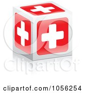 Royalty Free Vector Clip Art Illustration Of A Red Medical Cross Cube With A Reflection