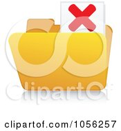 Royalty Free Vector Clip Art Illustration Of A Yellow 3d X Folder And Reflection by Andrei Marincas