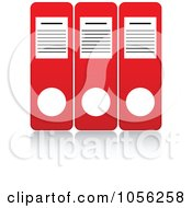 Royalty Free Vector Clip Art Illustration Of Three Red Binders With Reflections