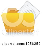 Royalty Free Vector Clip Art Illustration Of A Yellow 3d Documents Folder And Reflection