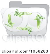 Royalty Free Vector Clip Art Illustration Of A White 3d Recycle Folder With Green Arrows by Andrei Marincas