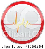 Royalty Free Vector Clip Art Illustration Of A Heart Beat On A Sticker by Andrei Marincas