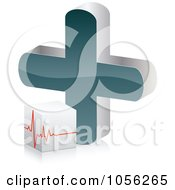 Royalty Free Vector Clip Art Illustration Of A 3d Heart Beat Cube By A Cross