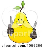 Royalty Free Vector Clip Art Illustration Of A Hungry Pear Character Holding Silverware by Andrei Marincas
