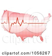 Royalty Free Vector Clip Art Illustration Of A Heart Beat Over America by Andrei Marincas