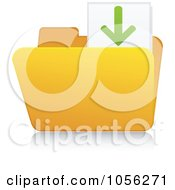 Royalty Free Vector Clip Art Illustration Of A Yellow 3d Download Folder And Reflection