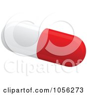 Royalty Free Vector Clip Art Illustration Of A 3d Red And White Pill Capsule by Andrei Marincas