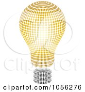 Royalty Free Vector Clip Art Illustration Of A Black And Gold Halftone Light Bulb by Andrei Marincas