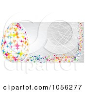 Gray Easter Banner With Polka Dots And A Starry Egg