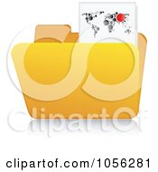 Royalty Free Vector Clip Art Illustration Of A Yellow 3d Map Folder And Reflection