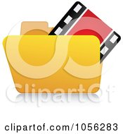 Royalty Free Vector Clip Art Illustration Of A Yellow 3d Video Folder And Reflection by Andrei Marincas