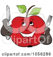 Royalty Free Vector Clip Art Illustration Of A Hungry Apple Character Holding Silverware by Andrei Marincas