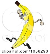 Royalty Free Vector Clip Art Illustration Of A Banana Character Wearing Shades And Running by Andrei Marincas #COLLC1056290-0167
