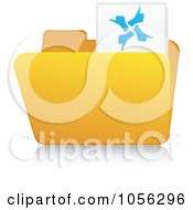 Royalty Free Vector Clip Art Illustration Of A Yellow 3d Thumbs Up Folder And Reflection by Andrei Marincas