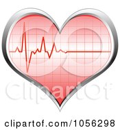 Royalty Free Vector Clip Art Illustration Of A Heart Beat On A 3d Heart by Andrei Marincas